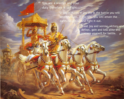 Krishna and Arjuna during Mahabharata war
