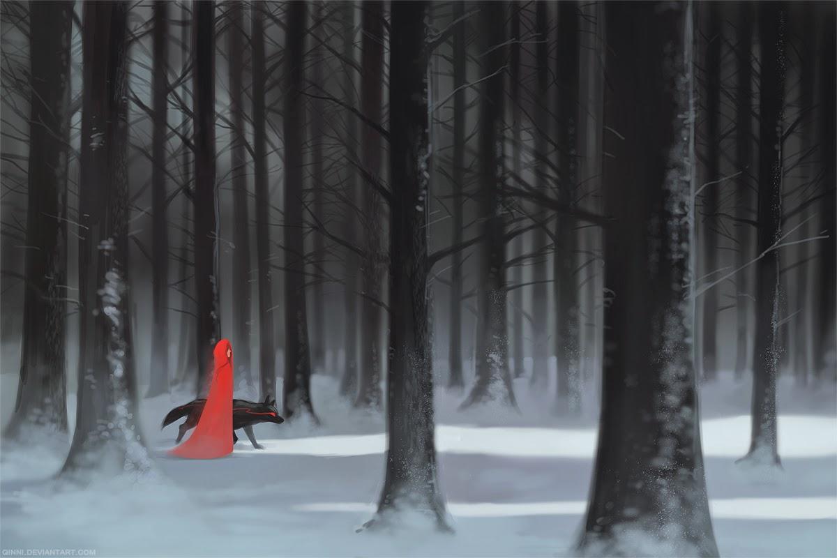 illustration de Qing Han d'une femme en manteau rouge marchant à coté d'un loup dans une forêt d'hiver