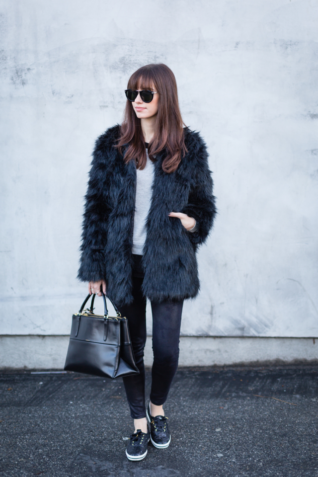 black faux fur jacket with sweatshirt and jeans via M Loves M @marmar