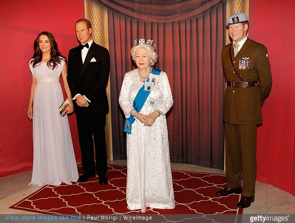 Wax figures of The British Royal Family Catherine, Duchess of Cambridge, Prince William, Duke of Cambridge, Queen Elizabeth II and Prince Harry are unveiled at Madame Tussauds on May 5, 2015 in Washington, DC.