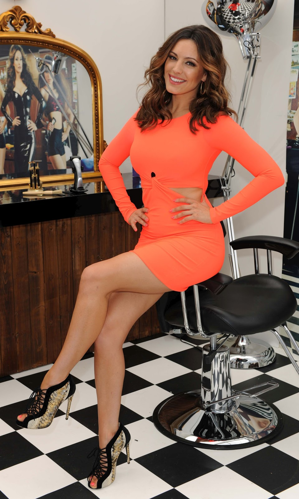 Kelly Brook at Bodygroom Barbershop Opening in London