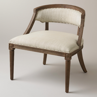 Copy cat chic restoration hardware swedish demi lune chair for Chaise demi lune