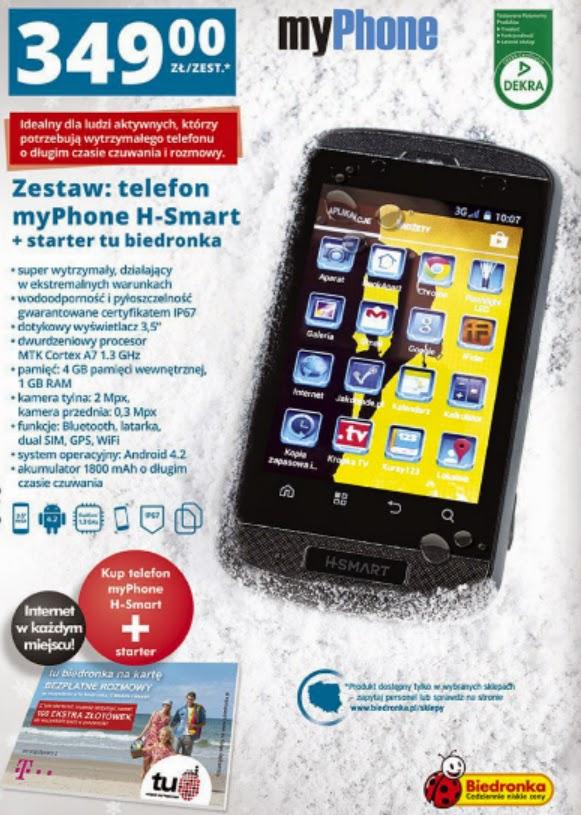 Telefon komórkowy myPhone H-Smart z Biedronki ulotka