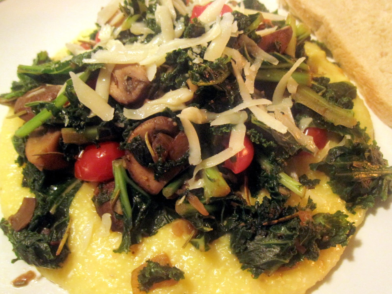 Food for the Week: Creamy Polenta with Kale, Mushrooms, and Tomatoes