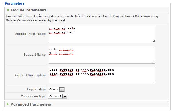Module yahoo joomla, Phần cấu hình admin