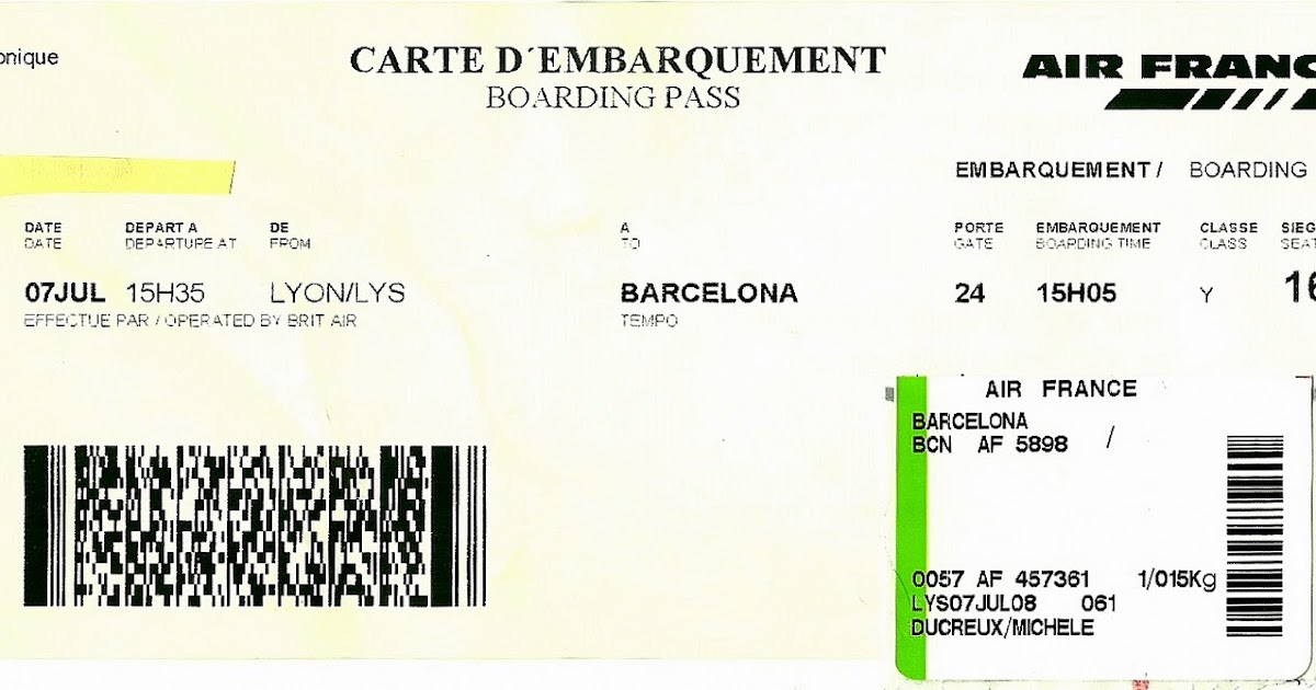 The traveler's drawer: AIR FRANCE. Carte d'embarquement vol AF5898 Lyon-Barcelone (2008)