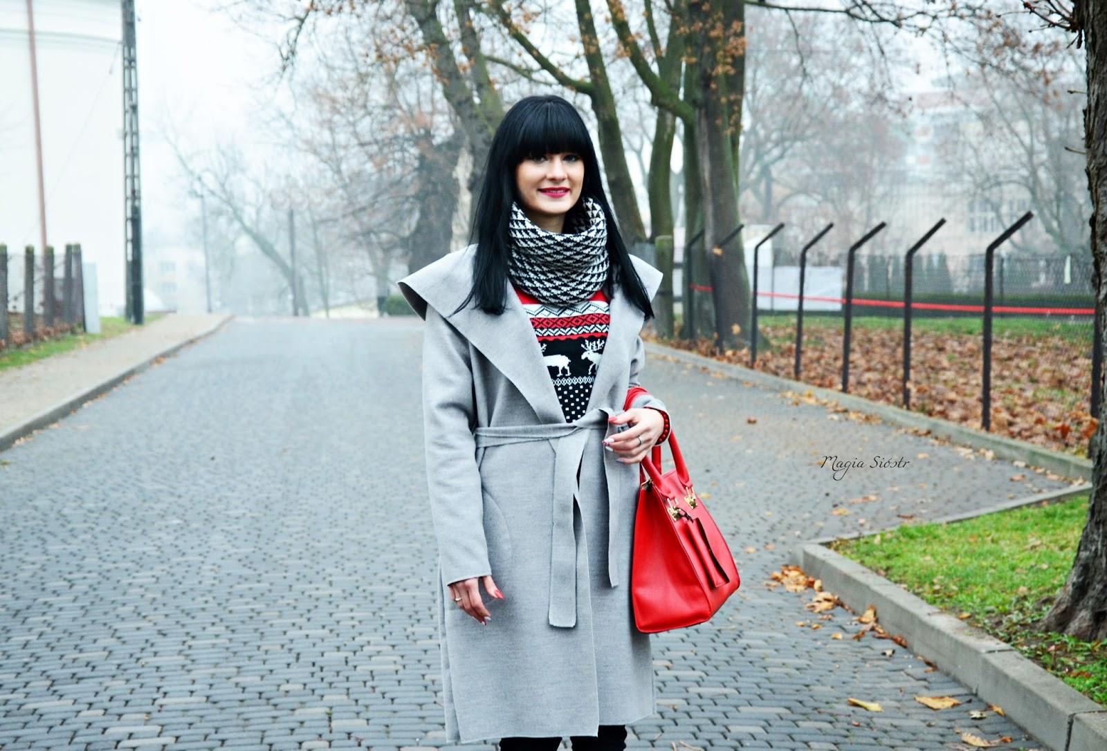 jesienna stylizacja, blog modowy, szary płaszcz, czerwona torebka