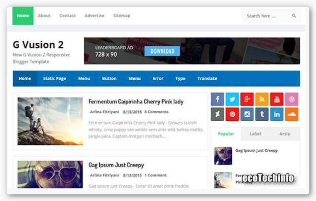 G Vusion 2 is a fresh and Responsive Light Weight Blogger Template year 2015