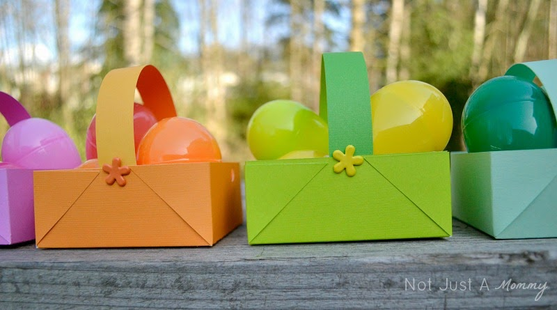 DIY colorful Easter paper baskets close up
