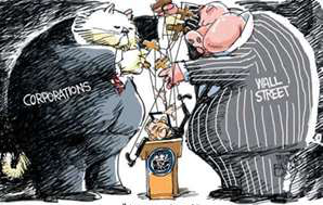 Cartoon: Corporation FatCats & WallStreet Pigs manipulating politician