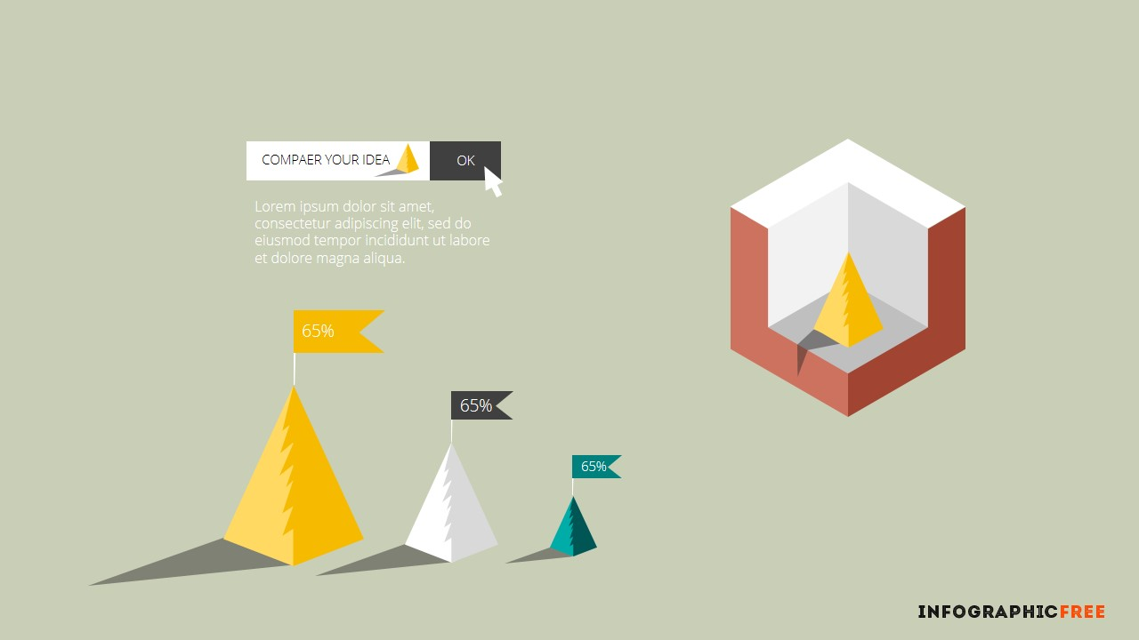 3d cube infographic design elements infographicon for 3d flat design online