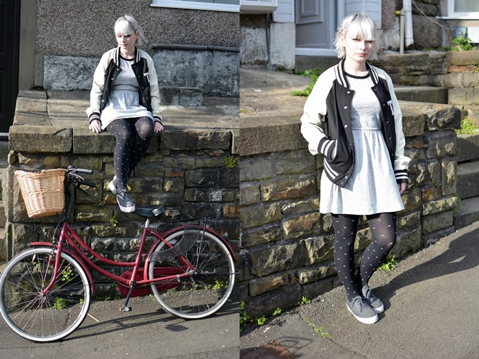 ootd fashion bike brick lane primark flatforms trendy white hair girl