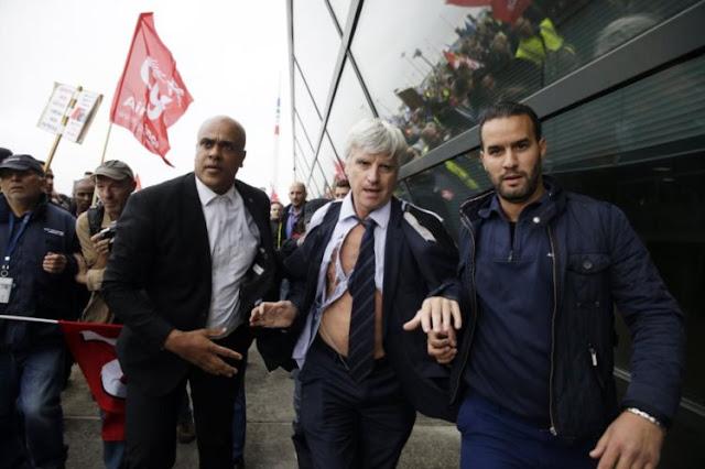 Executivo da Air France depois da invasão da reunião