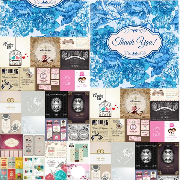2- مجموعة بطاقات زواج متنوعة بصيغة EPS