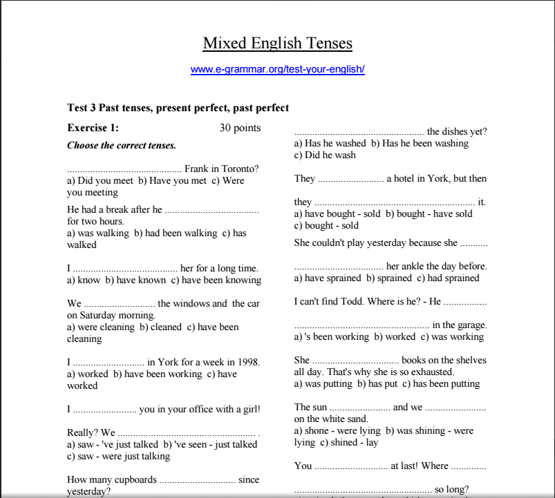 Verbal Tenses Exercises. Bruce Baker: ENGLISH TEACHING MATERIALS