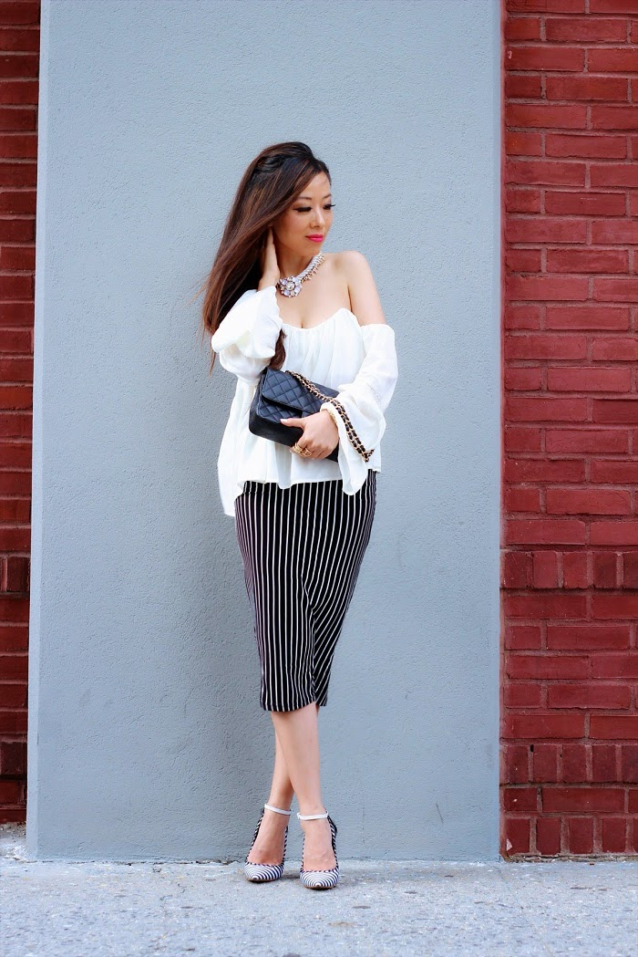 renamed,offshoulder,top,pencilskirt,stripe,trend,armparty,ringpack,Chanel,classy,datenight,anarchystreet,hair,asiangirl,nyc,streetstyle,grey