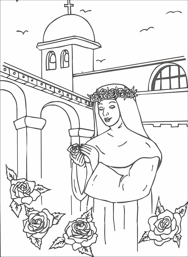 Bonito Cruz Con Rosas Para Colorear Fotos - Dibujos Para Colorear En ...