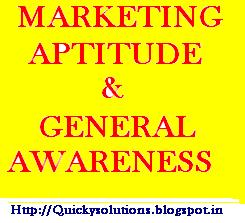 Marketing aptitude question paper for Competitive / entrance exam 2013