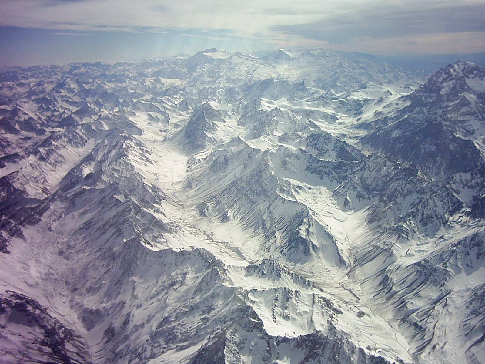 The Andes mountain range shows its beauty in the ...