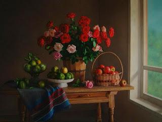 Bodegones Flores Mesa Madera