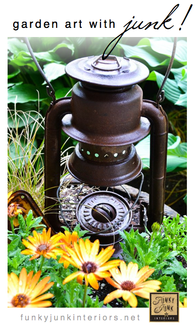 garden junk DIY salvaged rust garden art outdoors gardening decorating funky junk interiors