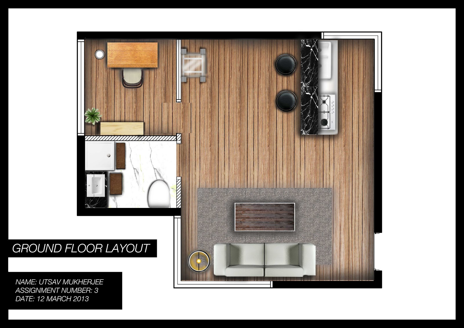 Utsav Mukherjee Designs Studio Apartment Floor Plan Render