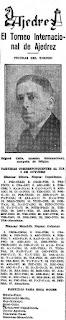 Recorte del Mundo Deportivo de 5-10-1929 sobre el Torneo Internacional de Ajedrez Barcelona 1929