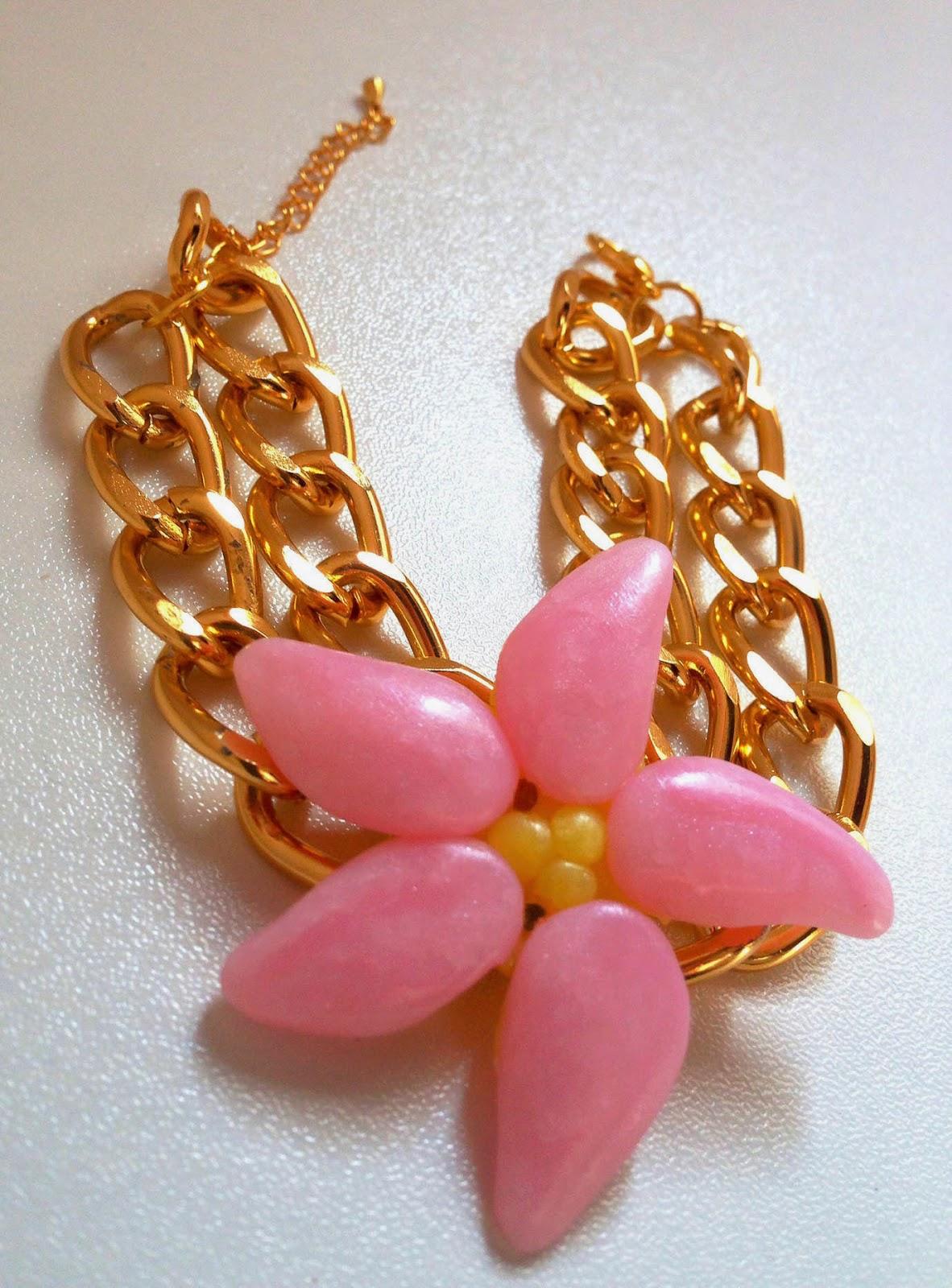 Pulsera flor tropical fimo