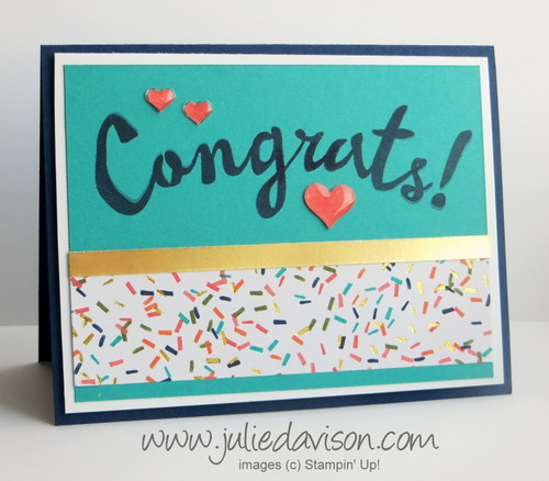 AW37: Non-Traditional Wedding Card with Bravo stamp set & Balloon Bash DSP #stampinup www.juliedavison.com