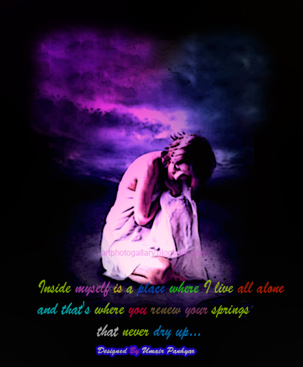 alone quotes. Art Poster of sad alone girl