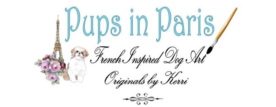 Pups in Paris Dog Art by Kerri Houston