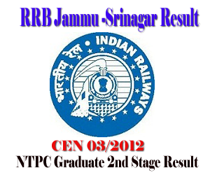 RRB Jammu CEN 03/2012 (NTPC Graduate) Second Stage Examination Result of 18/08/2013