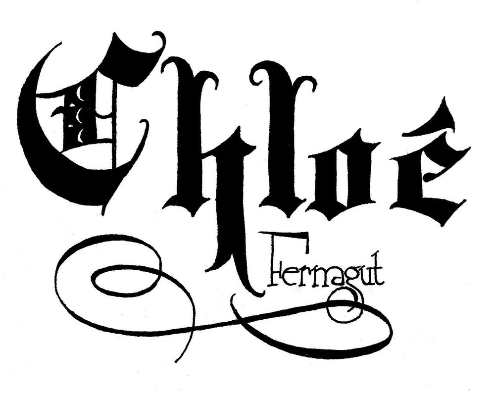 Calligraphy alphabet english font style old