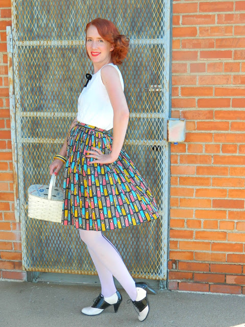 1950s telephone phone booth novelty skirt basket purse spectators Just Peachy, Darling