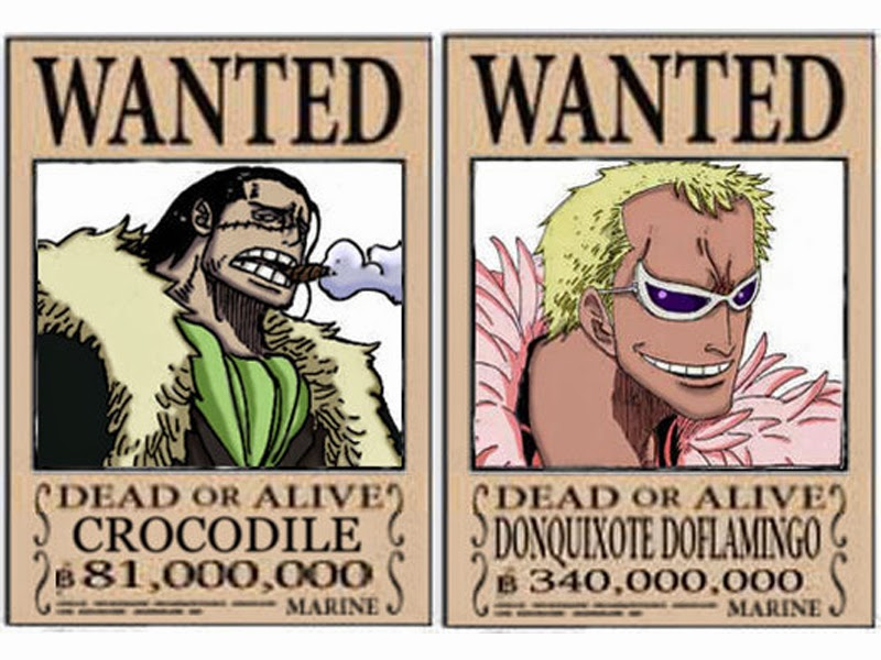 Poster Wanted Crocodile dan Doflamingo