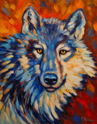Paintings by Theresa Paden: Colorful Wolf Original ...