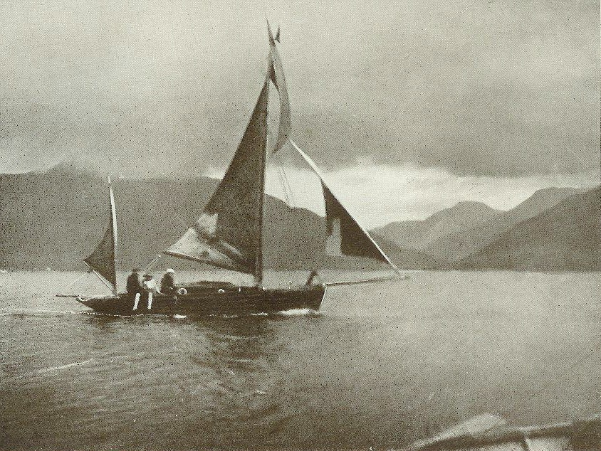 The photo was taken in 1904 by Lynam of his family sailing in Loch Nevis ...