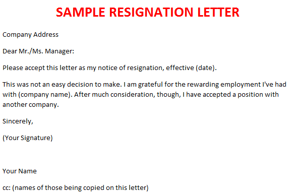 Sample Of Resignation Letter From Job