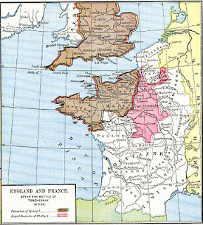 Map showing England territories in 1106