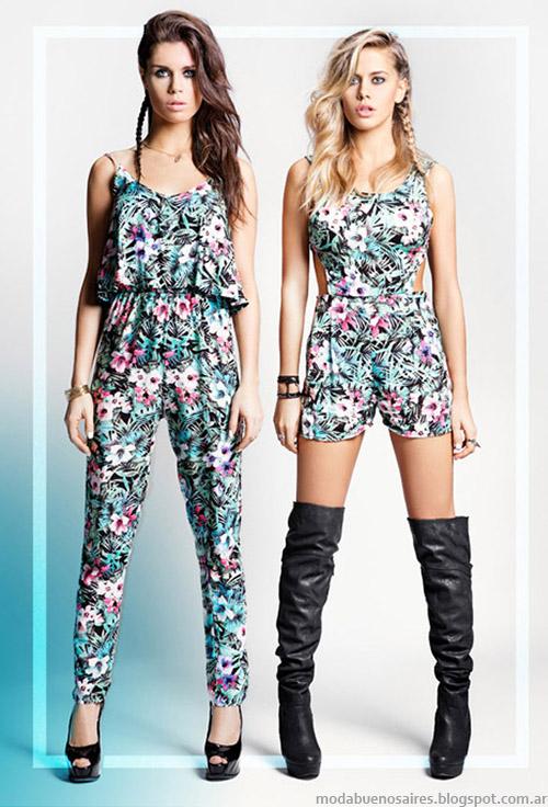 Monos estampados florales, largos y cortos, moda urbana verano 2015 Tabatha Jeans verano 2015.