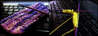 Two small knitting attempts, one with yellow yarn and one with variegated purples and white yarn.