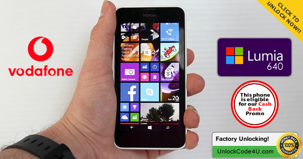 Factory Unlock Code for Microsoft Lumia 640 from Vodafone