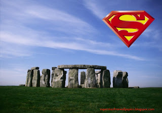 Desktop Wallpaper of Superman Logo in Stonehenge Stone Monument Desktop wallpaper