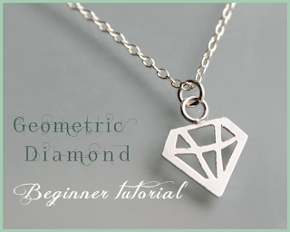 geometric diamond cut-out silver charm jewellery tutorial