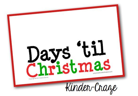 FREE countdown to Christmas classroom sign