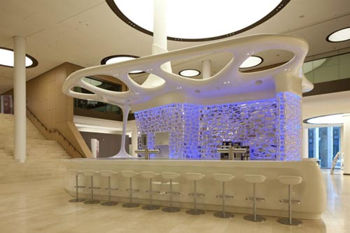Exotic Purple Lighting Decorating Design for Modern Reception and Cafe Desk