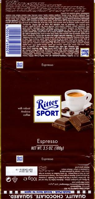 tablette de chocolat noir fourré ritter sport noir espresso