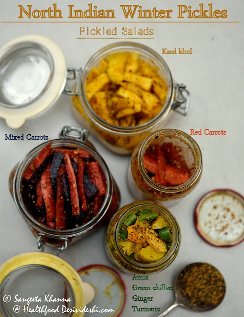 winter pickles from north India | pickled seasonal vegetables | pickled salads using mustard as pickling spice