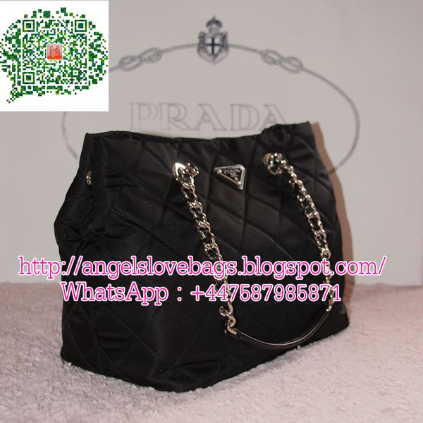 PRADA Tessutto Imputu Quilted Chain Tote Bag with Long Strap - Black ✦ ba37832a04