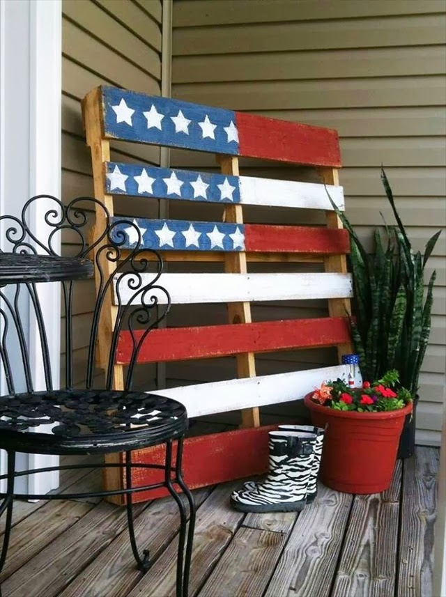 American Flag Pallet Art for Blog with the Browns